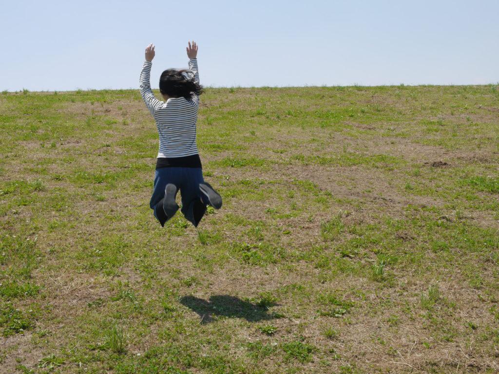 空から落ちて着地寸前系女子