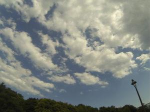 青空を流れる雲と街灯