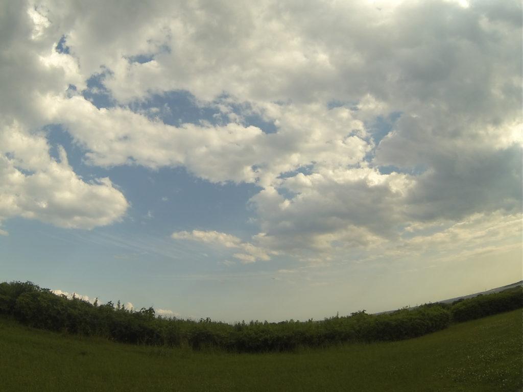 超広角の青空と芝生