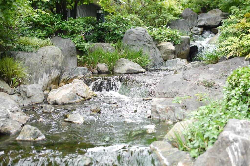 浅草寺中庭の石橋の下を流れる川